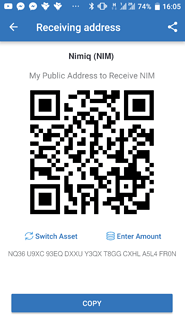 Receive NIM to charge your wallet